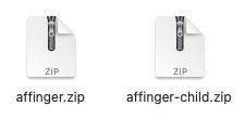 「affinger.zip」と「affinger-child.zip」