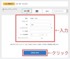 支払い方法を入力し、「ORDER NOW」をクリック